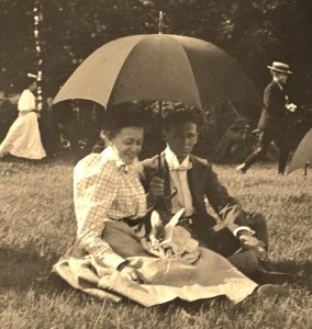 Photo of young man and woman at family picnic, unattributed