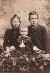 Photo of Katherine Matilda Griswold,  Clifford Burnham Griswold and their  little brother Walter Hook,  Children of Anna Amelia Burnham Griswold Hook in Felchville, VT