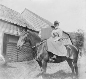 Photo of unknown woman on horseback, location likely Felchville, Vermont