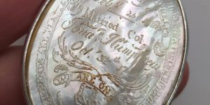 Photo of engraved medallion suspected of belonging to Lydia Griswold Phelps Humphrey